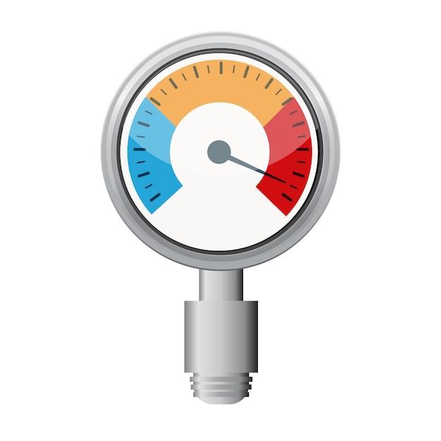 Medidor de temperatura usado na grelha de cozinha com o equipamento Vetor Premium