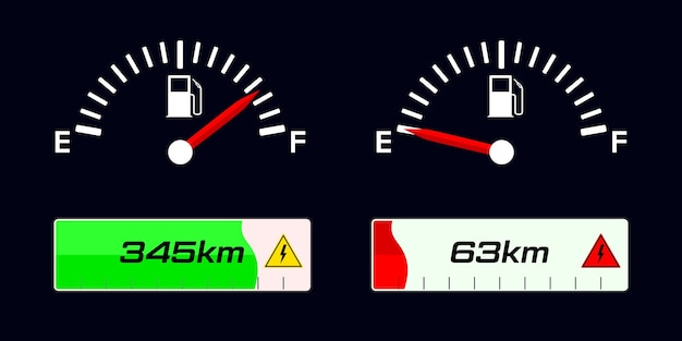 Medidor indicador de combustível. medidor de combustível. indicador de carga do veículo elétrico. Vetor Premium