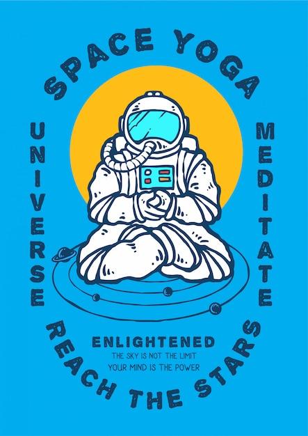 Meditação de astronauta em posição de ioga à procura de iluminação Vetor Premium