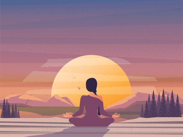 Meditação matutina pela natureza. Vetor Premium