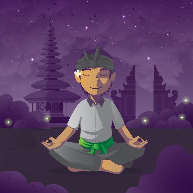 Meditar homem balinesa no fundo do dia silencioso Vetor Premium