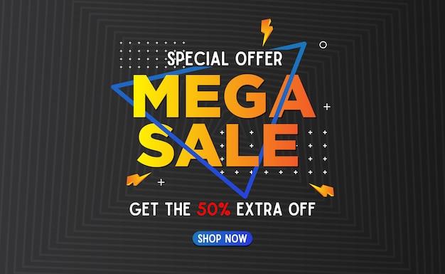 Mega abstrato de venda banner template background Vetor Premium