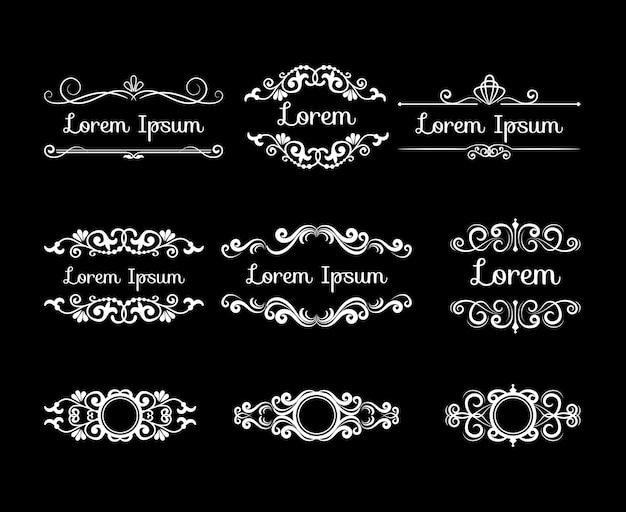 Mega conjunto de designs decorativos com estilo retro branco. molduras de flores Vetor grátis