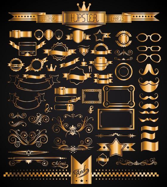Mega conjunto de etiquetas douradas vintage para seu hipster Vetor Premium