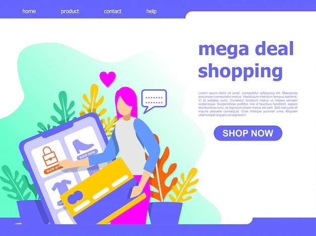 Mega deal compras online landing page ilustração Vetor Premium