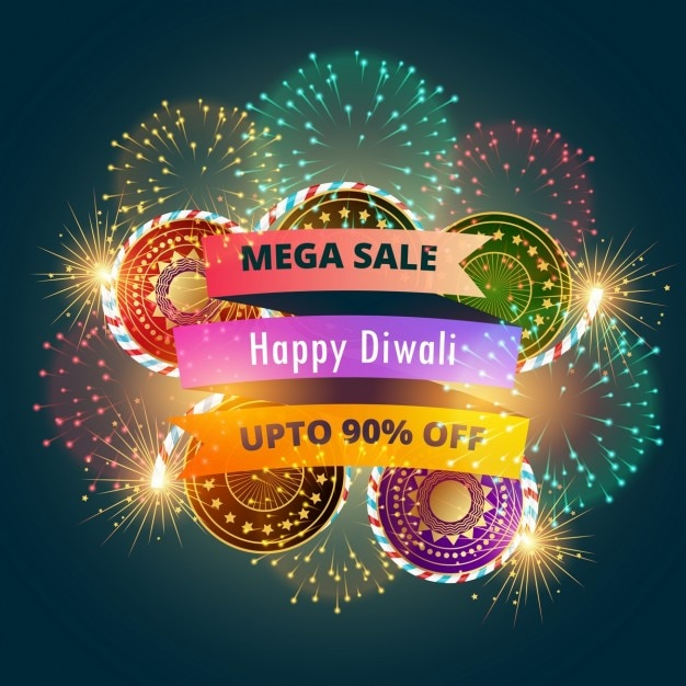 Mega diwali bandeira da venda do cartaz com fogos de artifício Vetor grátis