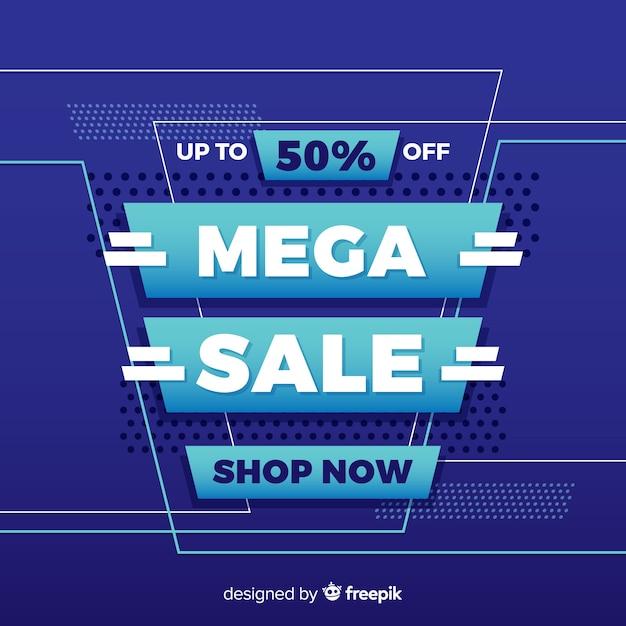 Mega mega promoção banner de venda Vetor grátis