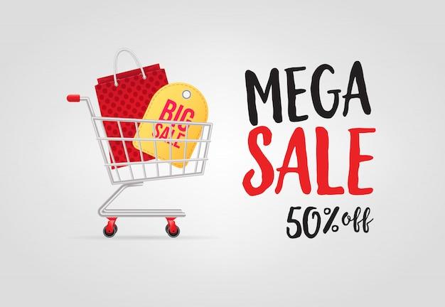 Mega venda, cinquenta por cento de desconto letras com carrinho de compras Vetor grátis