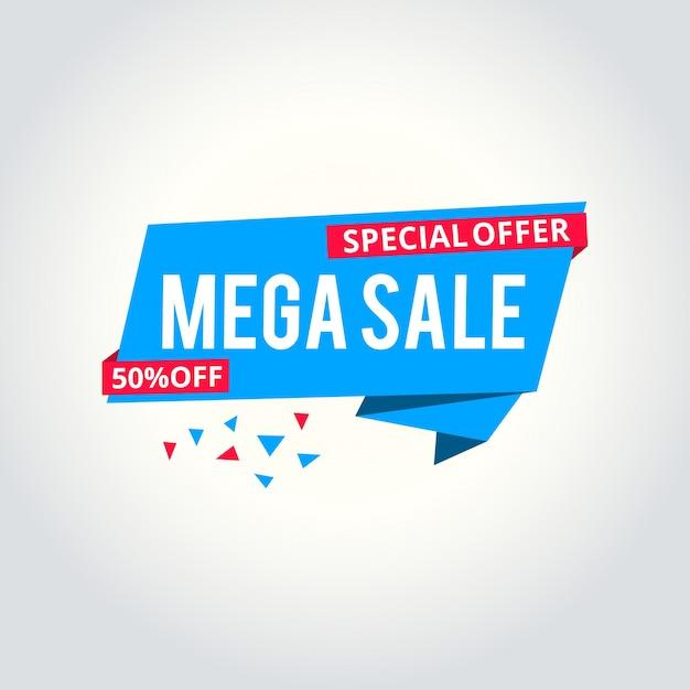 Mega venda modelo de bandeira, ilustração vetorial Vetor Premium