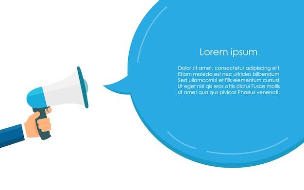 Megafone azul para comunicação e discurso modelo de bolha Vetor Premium