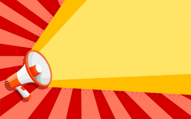 Megafone branco laranja. alto-falante de estilo. ilustração na cor de fundo Vetor Premium
