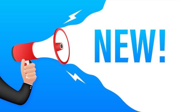Megafone com novo. banner do megafone. rede . ilustração das ações. Vetor Premium