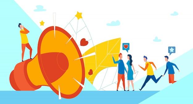 Megafone enorme e marketing social de promoção Vetor Premium