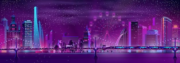 Megapolis de vetor com trem de velocidade, roda gigante Vetor grátis