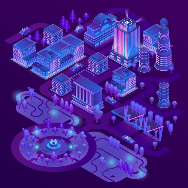 Megapolis isométrico 3d, cidade com o parque em cores roxas. cobrança, de, arranha-céus, edifícios Vetor grátis