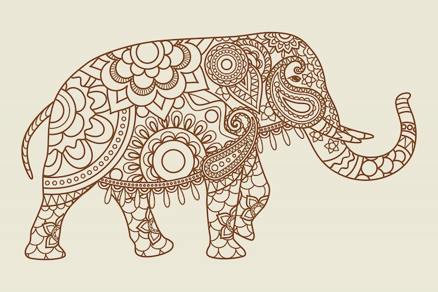 Mehendi elefante indiano ícone vintage cores Vetor Premium