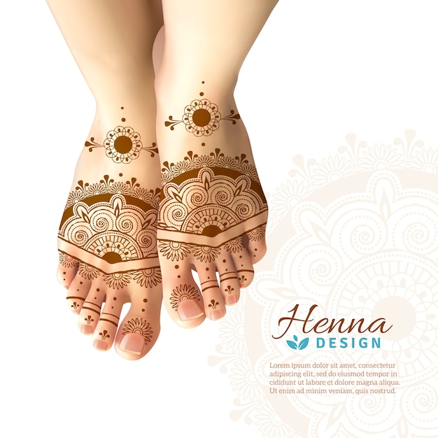 Mehndi henna woman feet realistic design Vetor grátis