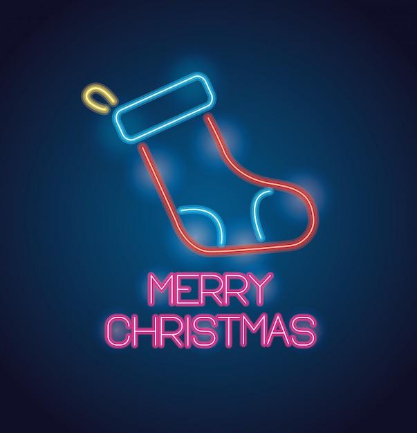 Meia do feliz natal com luzes de néon cartão comemorativo Vetor Premium