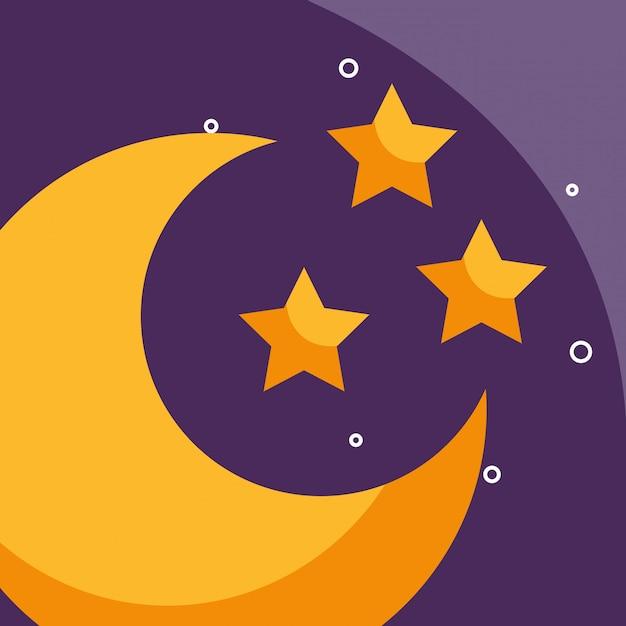 Meia lua e estrelas tempo dos desenhos animados Vetor Premium