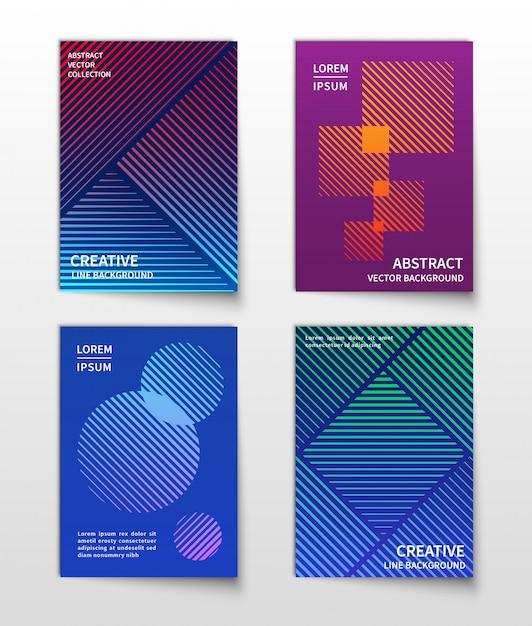 Meio-tom dinâmico de linha minimalista. conjunto de fundos modernos geométricos abstratos Vetor Premium