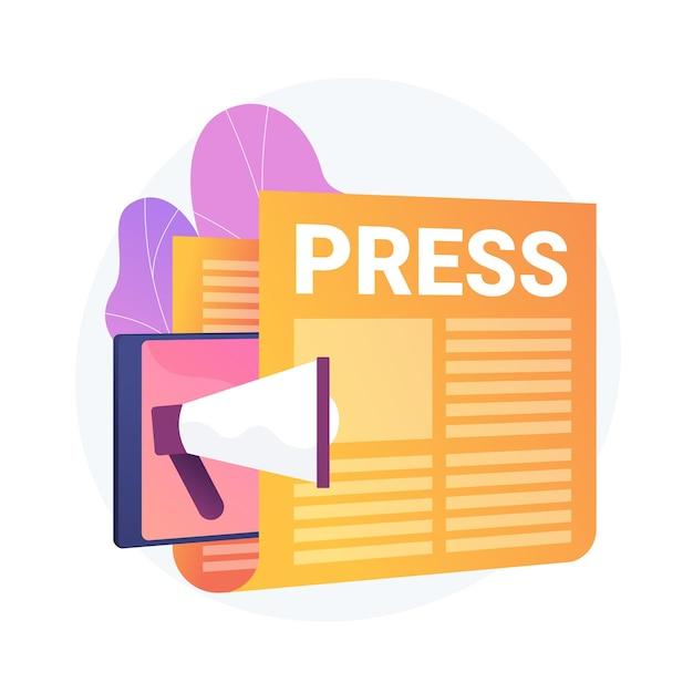 Meios de comunicação, comunicado de imprensa. publicação de jornais, notícias diárias, ideia de propaganda. tablóide com título. reportagem, elemento de design de jornalismo. Vetor grátis