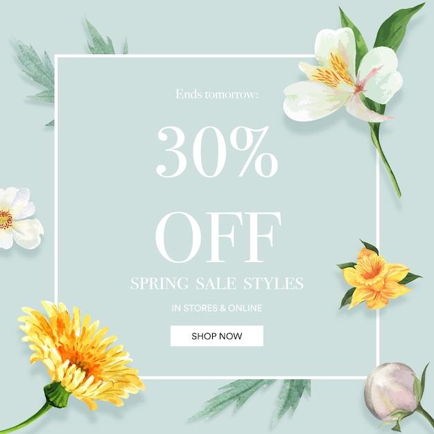 Meios de comunicação sociais primavera frame flores frescas, cartão de decoração com jardim colorido floral, casamento, convite Vetor grátis