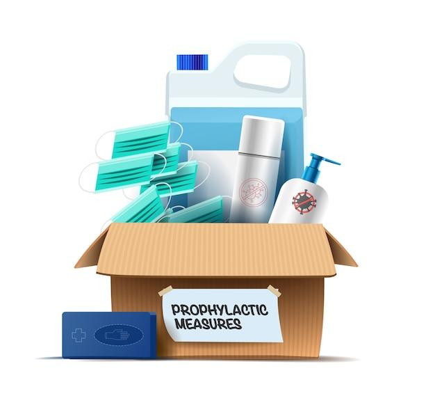 Meios de proteção contra vírus, infecções e líquidos desinfetantes e agentes anti-sépticos em uma caixa. Vetor Premium