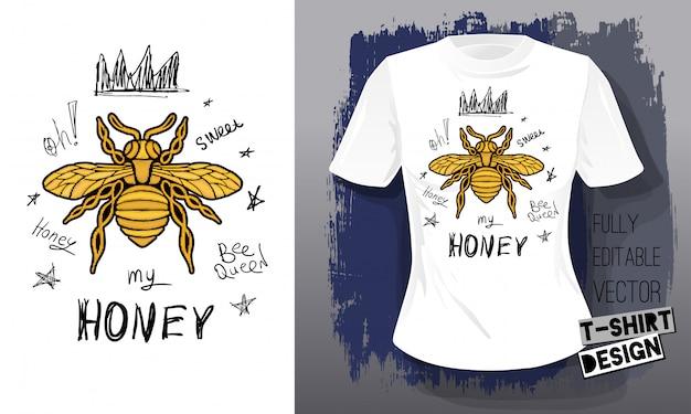 Mel abelha bordados dourados rainha coroa tecidos têxteis letras ouro asas inseto design de t-shirt. mão desenhada vector mel abelha moda luxo bordado estilo Vetor Premium