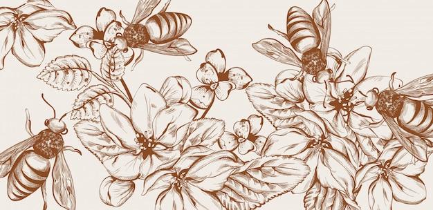 Mel abelhas e flores linha arte cartão Vetor Premium