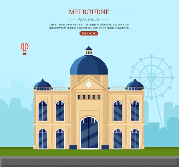Melbourne marcos históricos na austrália Vetor Premium