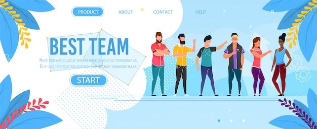 Melhor apresentação da página de destino de personagem de equipe Vetor Premium