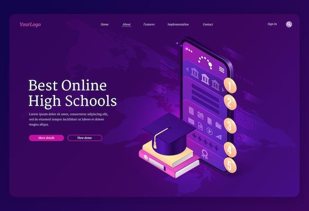Melhor banner de escolas secundárias online. Vetor grátis