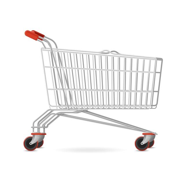 Melhor carrinho de shopping supermercado, carrinho de compras com rodas móveis Vetor grátis