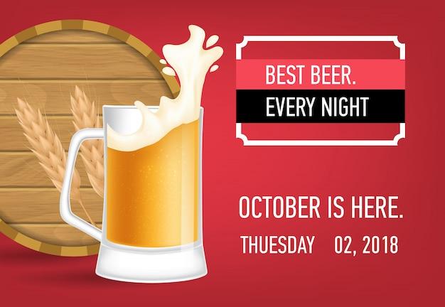 Melhor cerveja todas as noites banner design com cerveja de trigo Vetor grátis