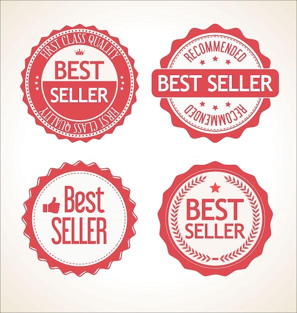 Melhor coleção de crachá e etiquetas vintage retrô de vendedor Vetor Premium