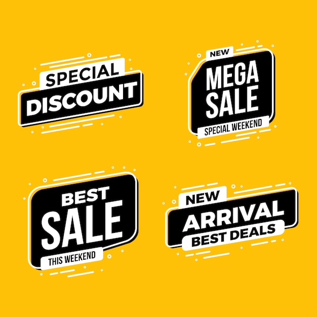 Melhor coleção de etiquetas de rótulos de venda Vetor Premium