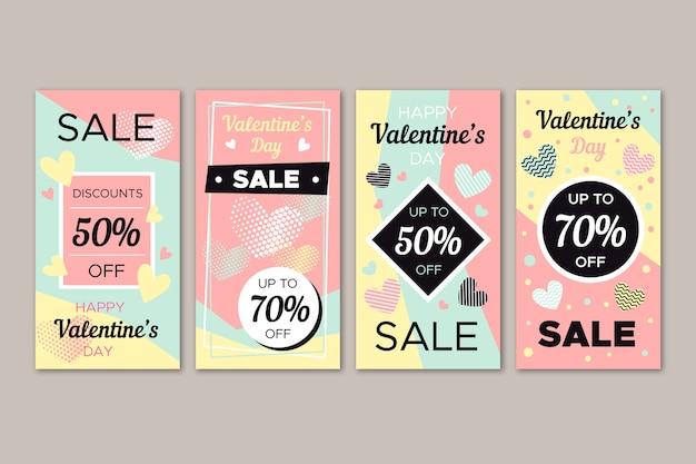 Melhor coleção de histórias de venda de dia dos namorados Vetor grátis