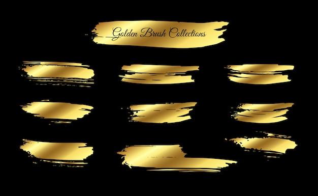 Melhor coleção de pinceladas douradas Vetor Premium