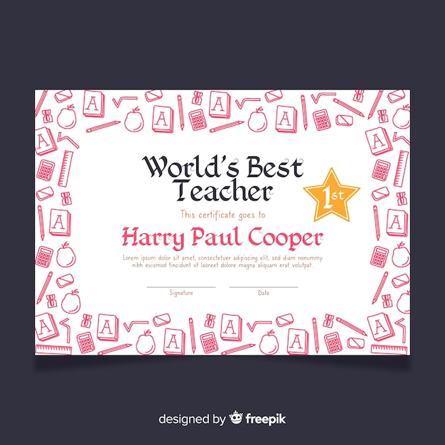 Melhor diploma de professor do mundo Vetor grátis
