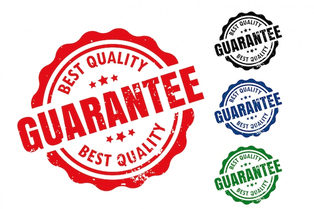 Melhor garantia de qualidade selo de borracha selo conjunto de carimbo Vetor grátis