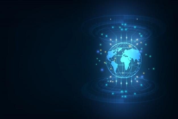 Melhor internet de negócios globais globo, linhas brilhantes sobre fundo tecnológico eletrônica, wi-fi, raios, símbolos internet, televisão, móvel e comunicações via satélite Vetor Premium