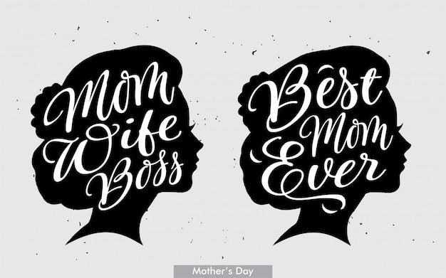Melhor mãe de sempre e mãe esposa chefe letras Vetor Premium