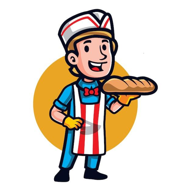 Melhor mascote de pão dos desenhos animados Vetor Premium