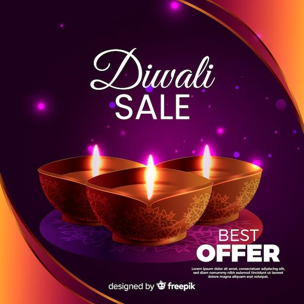 Melhor oferta de venda realista de diwali Vetor grátis