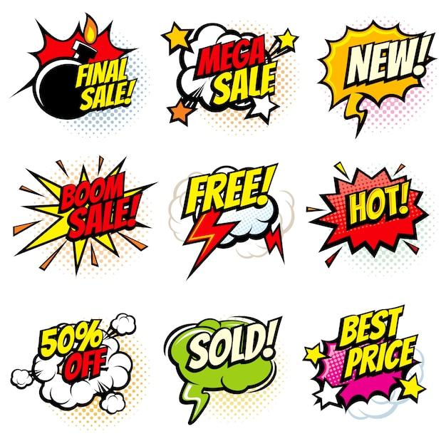Melhor oferta e venda de bolhas promocionais Vetor Premium