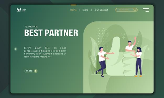 Melhor parceiro, ilustração de trabalho em equipe no modelo de página de destino Vetor Premium