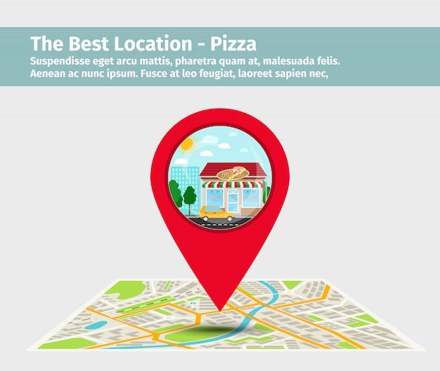 Melhor ponto de pizza no mapa Vetor Premium