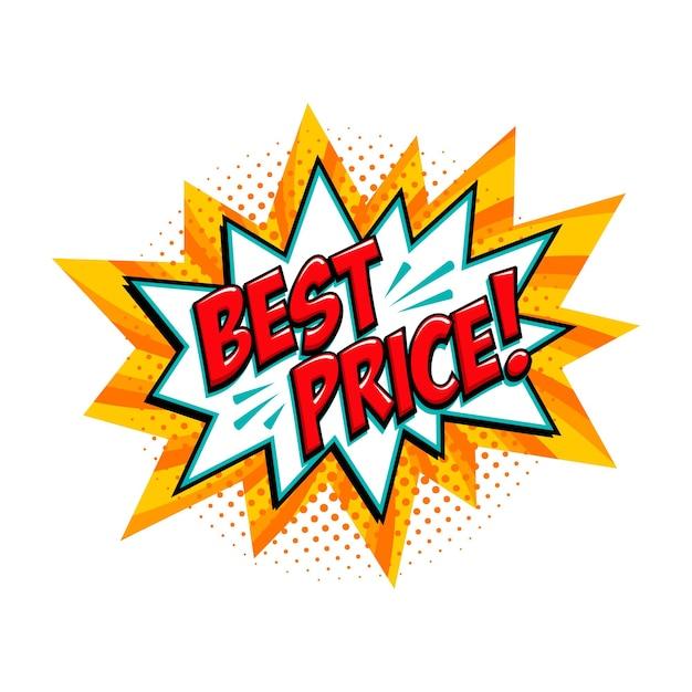 Melhor preço balão amarelo de venda em quadrinhos Vetor Premium