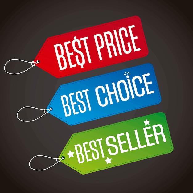 Melhor preço com melhor escolha e best seller rótulos vecor Vetor Premium