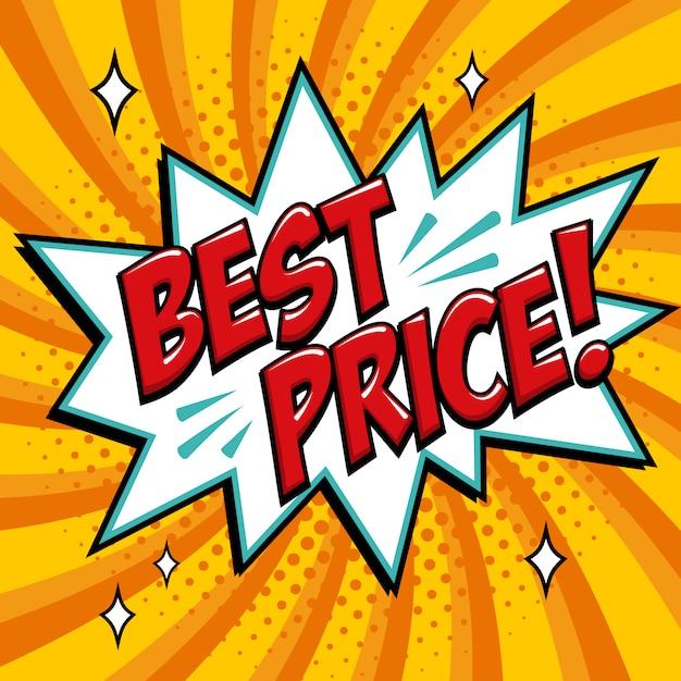 Melhor preço palavra de estilo de quadrinhos. melhor preço bolha de discurso de texto em quadrinhos. Vetor Premium